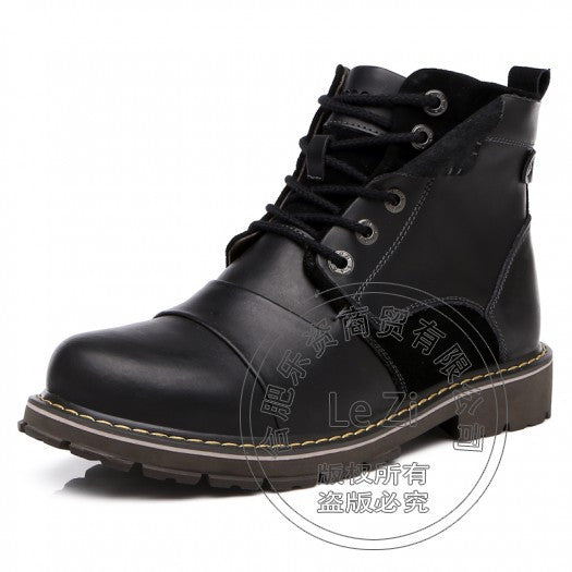 Work Shoes Winter Ankle men boots Fashion warm genuine leather Army Boots Martin boots with fur waterproof motorcycle boots