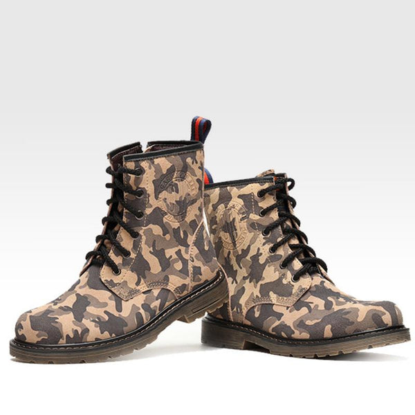 Men Winter Boots Real Genuine Leather Boots High Top Army Camouflage Troops Warm Men Shoes Fshion Best Quality Rubber Sole Boots