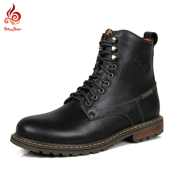 Winter Mens Boots Casual Cow Leather Boots British Retro Mid-Calf Tooling  Boots Mens Shoes Lace Up Army Boots 3123