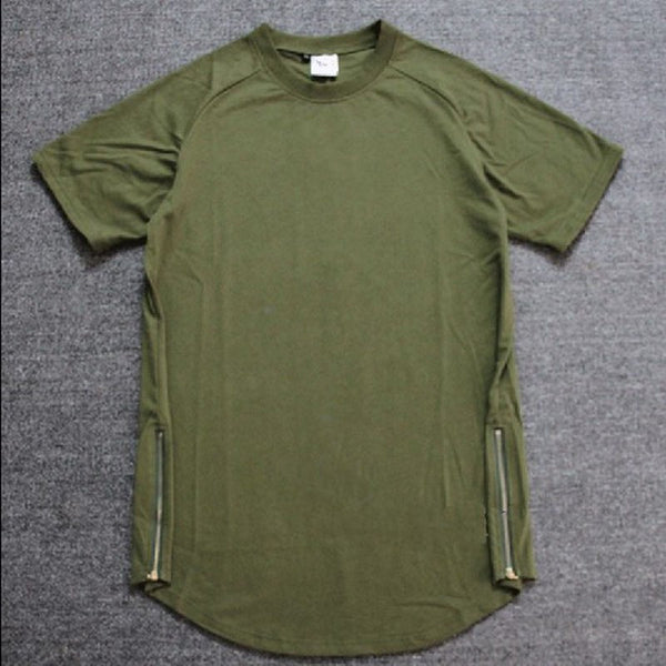 Cotton Oversized T Shirt Long Army Green White Black Extend Tshirt Men Short Sleeve Longline Tee Shirt Homme Size Zipper Hip Hip