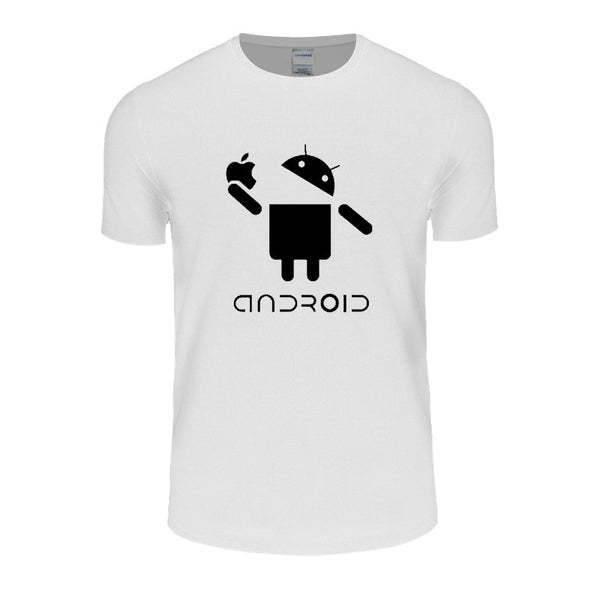 2016 New Fashion Men T Shirts Android Robot Male t-shirt apple humor logo printed funny t shirt short sleeve Round Plus Size
