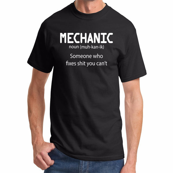 Mechanic Someone Who Fixes S**t You Cant Mens T Shirt Funny Humor White Gray T-shirts In Short Sleeve Clothing F10473