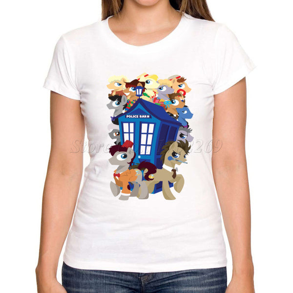 New fashion Women DR WHO T shirt christmas police box cartoon printed lady casual tops short sleeve fashion novelty tee shirts