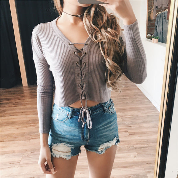 Brandage V-neck Tops Tee 2016 Women Tie Lace Up Crop Tops Sexy Hollow Out T-shirt Long Sleeve Knitted T shirt Christmas T shirts