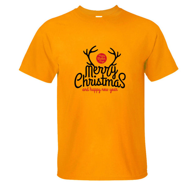 fashion 100% cotton Merry Christmas and happy new year print t shirt men christmas gift short sleeve T-shirts cheap clothes