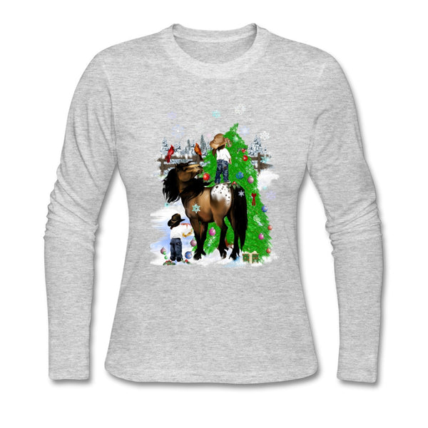 Ladies A Horse and Kid Christmas T Shirts   Custom Christmas Season  sexy women New Tee Shirts Classic Collar Tees