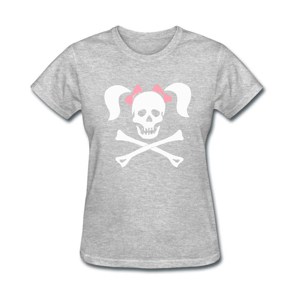 Womens Printing Graphic O-neck Big Size T shirt Street Halloween Girl skull crossbone pigtail Women's T shirts Christmas Gift
