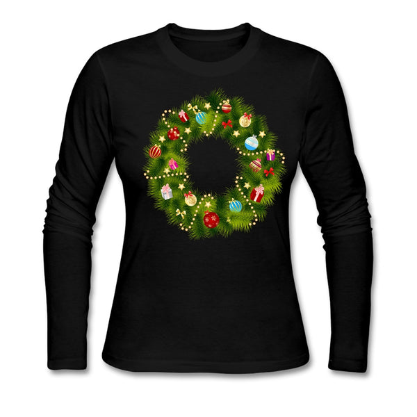 Inclusive Round Collar T Shirt Christmas Garland Women Apearl