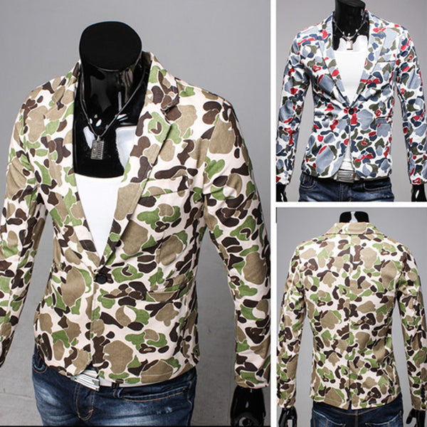 2015 New Arrival High Quality Fashion Men Suit Brand Blazer Men Casual Slim Clothing Suit Camouflage Top Selling 2 Color