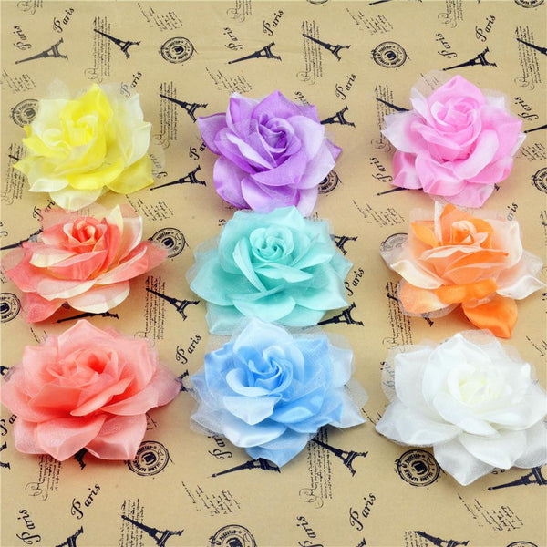 10pcs Large Silk 2 Color Fire Rose Artificial Flower Head For Wedding Decoration DIY Garland Decorative Floristry Fake Flowers