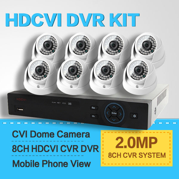 2015 New 8 Channel 8Ch HDCVI 1080P System 2.0MP HD IR Outdoor Dome CVI Camera Surveillance Security CCTV System CCTV DVR Kit 8Ch