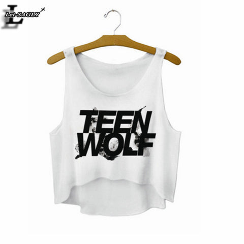 """Teen Wolf"" Letters Crop Top Summer Style Tank Top Women Tops Cheap Clothes China Cropped Fashion Mujer  Camisole F722"