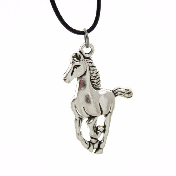 "[$5 Minimum] 2016 New Hot Sell Women Jewelry Vintage Silver Horse Pendant Short Necklace 17"" For Wholesale Free Shipping DY57"