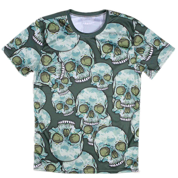 2015 summer listing fashion casual man's skull  t-shirt casual man's  short-sleeve O-neck  t shirt army green/pink