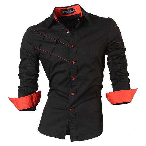 2016 casual shirts dress male mens clothing long sleeve social slim fit brand boutique cotton western button white black t 2028