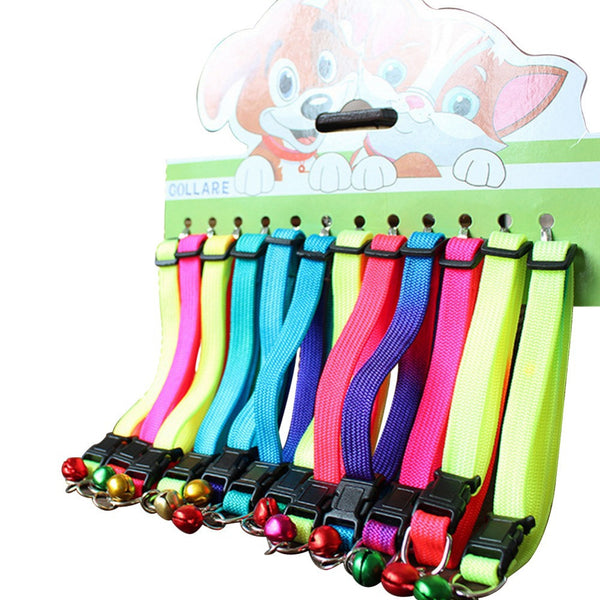 12 pieces / lot hot candy colors quick release collars pet dog & cat nylon with bell adjustable leads accessories supplies