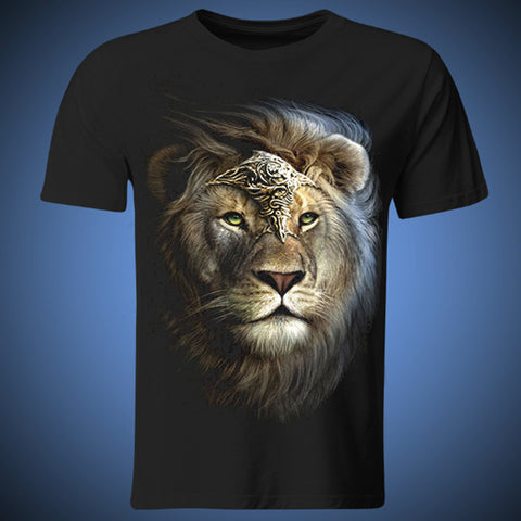 (Harajuku T Shirt)The king of lion Printed 3D T-shirts Punk 3D Short Sleeve T- Shirt M - 3XL Mens T- Shirts Summer Style HIP HOP