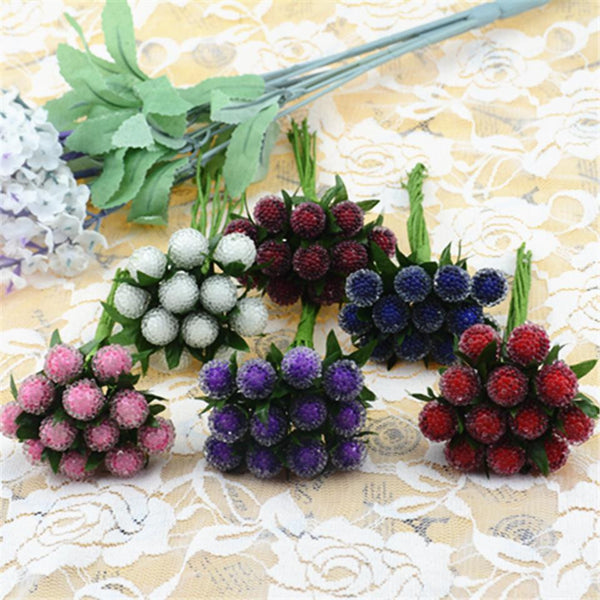 12pcs Small Berries Artificial Flower Red Cherry Stamen Pearlized Wedding simulation glass pomegranate Decoration