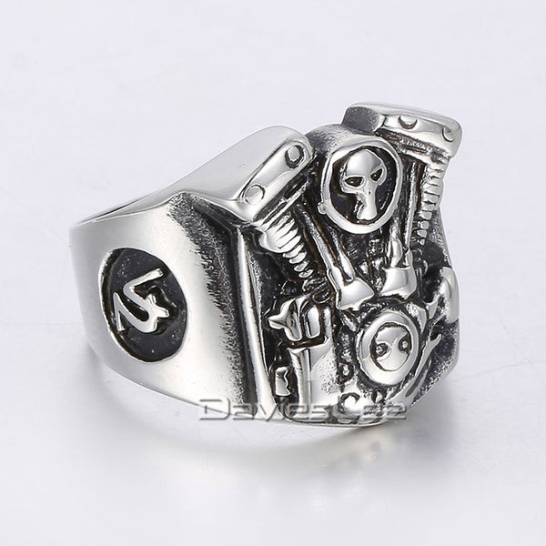 19mm Cool Punk Mens Boys Silver Tone Motorcycle Engine Skull Ring 316L Stainless Steel Ring Wholesale US Size 8-13 LHR310