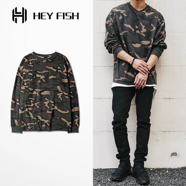 HEY FISH 2016 Autumn Camouflage Army T Shirt 2016 Classic Skateboards Long Sleeve Cotton Tees Kanye Casual Brand Clothing