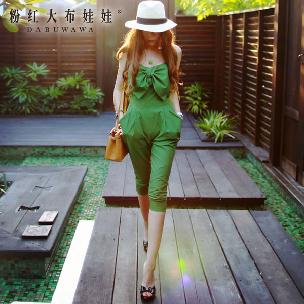 dabuwawa bodysuit 2016 summer sexy casual comfortable slim bow sleeveless high-waistd women jumpsuits army green pink doll