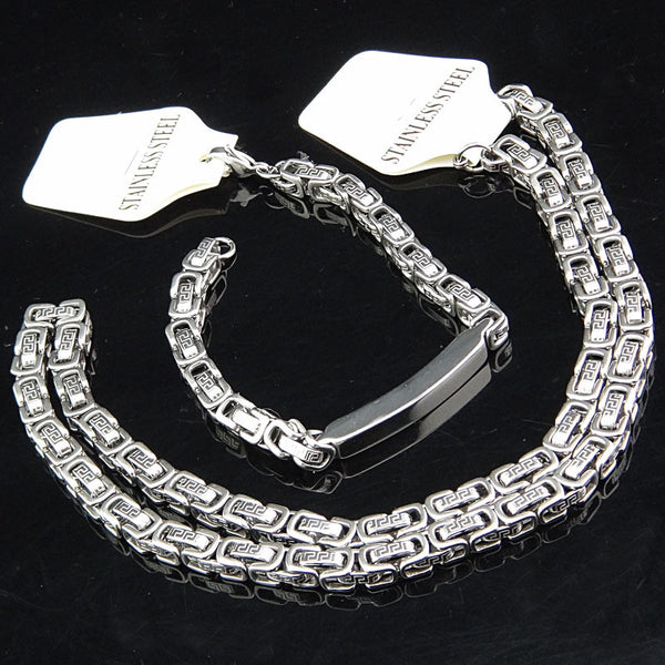 Cool Guaranteed 316L Stainless Steel Women Mens Costume Silver Gold Bracelet Necklace Chain Fashion Jewelry Set A598X835