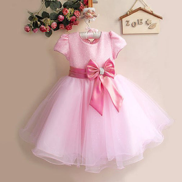 2016 Hot Sale Princess Flower Girl Dresses With Bow Belt For Little Girls Christmas Girl Costume 8 Color 1272