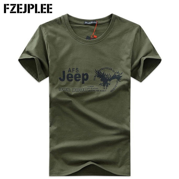 Men Tops 2016 summer new army green cotton short sleeve T-shirt  Printed men's round neck T shirt men Plus Size S-5XL