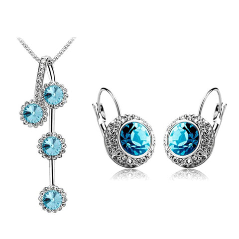 (5 Colour)  Fashion Woman Jewelry Sets of Rhinestone Silver/Gold Plated Round Crystal Necklace And Earrings Set
