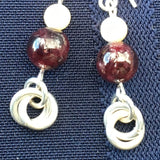 Garnet and Mother of Pearl Silver Earrings