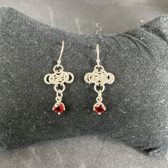 Shimmering Fire Silver Earrings