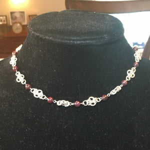 Sterling Silver and Garnet Chain Necklace