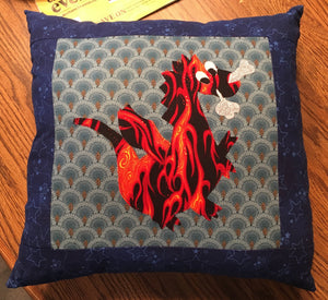 Quilted Dragon Throw Pillow