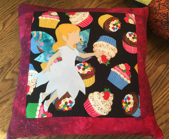 Quilted Fairy Throw Pillow
