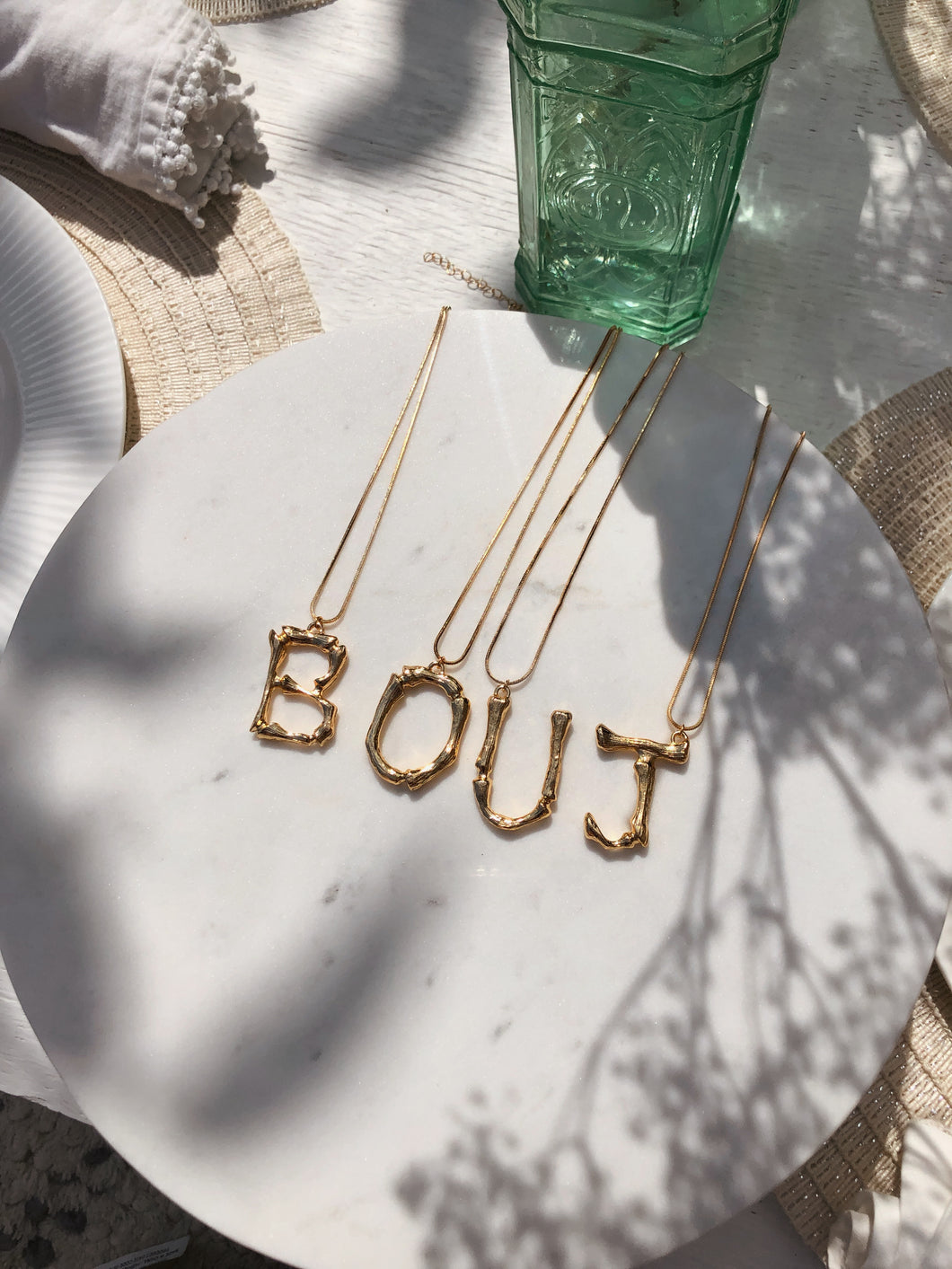 Bouj & Me 18k Gold Plated Letter Necklace