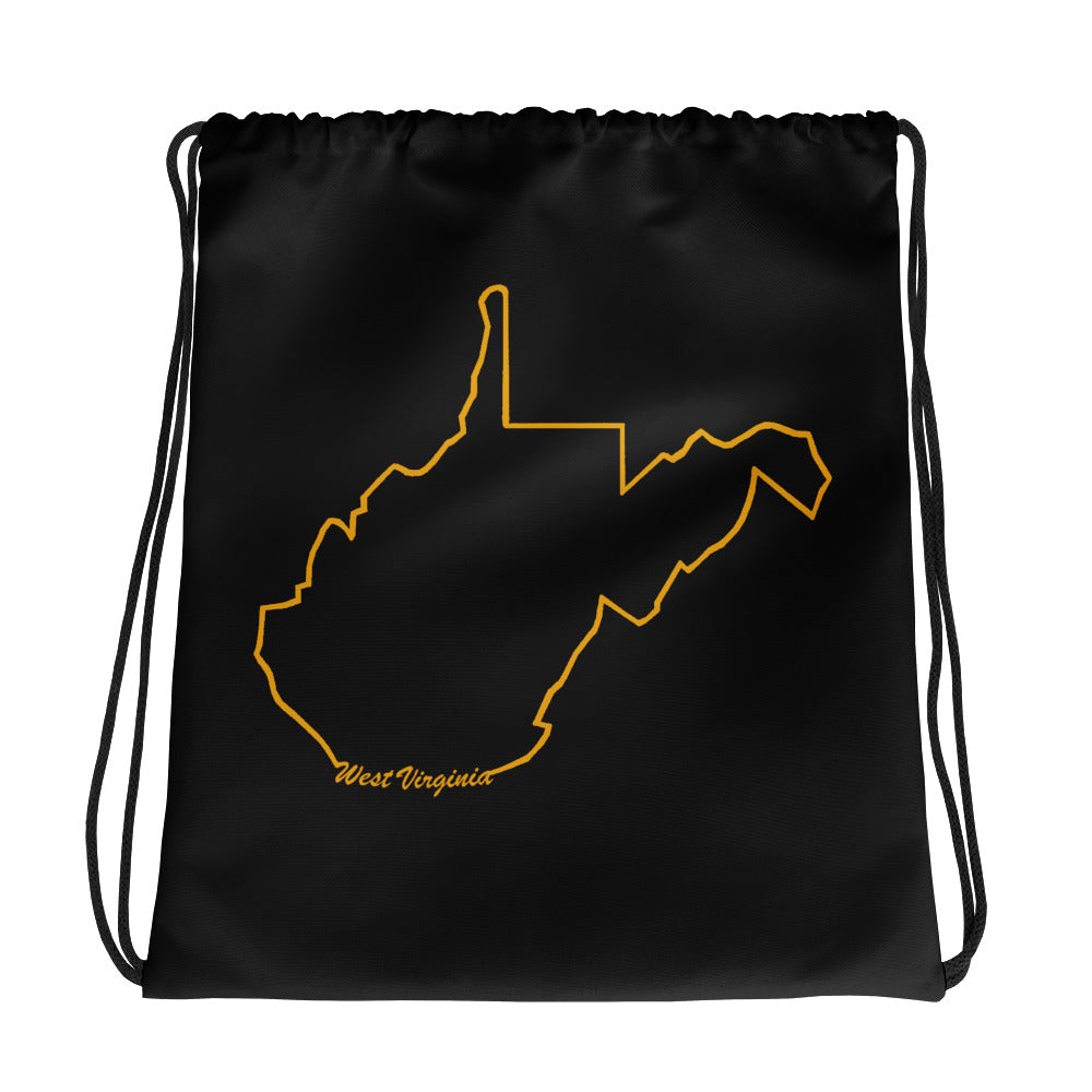 West Virginia Outline Drawstring Bag