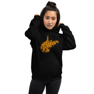 Floral West Virginia Outline Hoodie