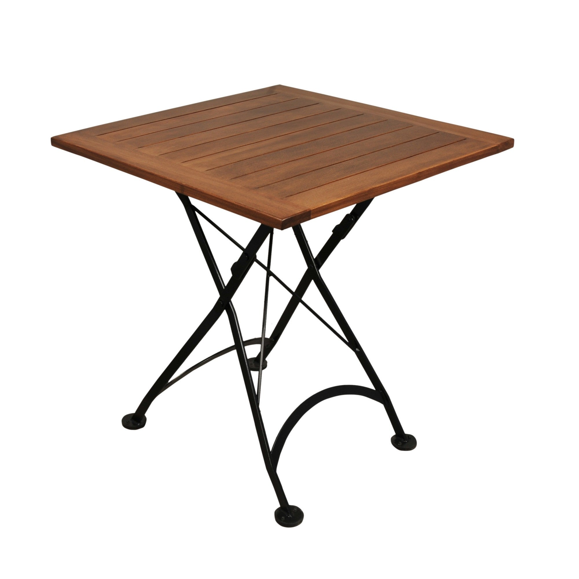 Square folding tables - 28 Inch Square European Folding Chestnut Wood Table
