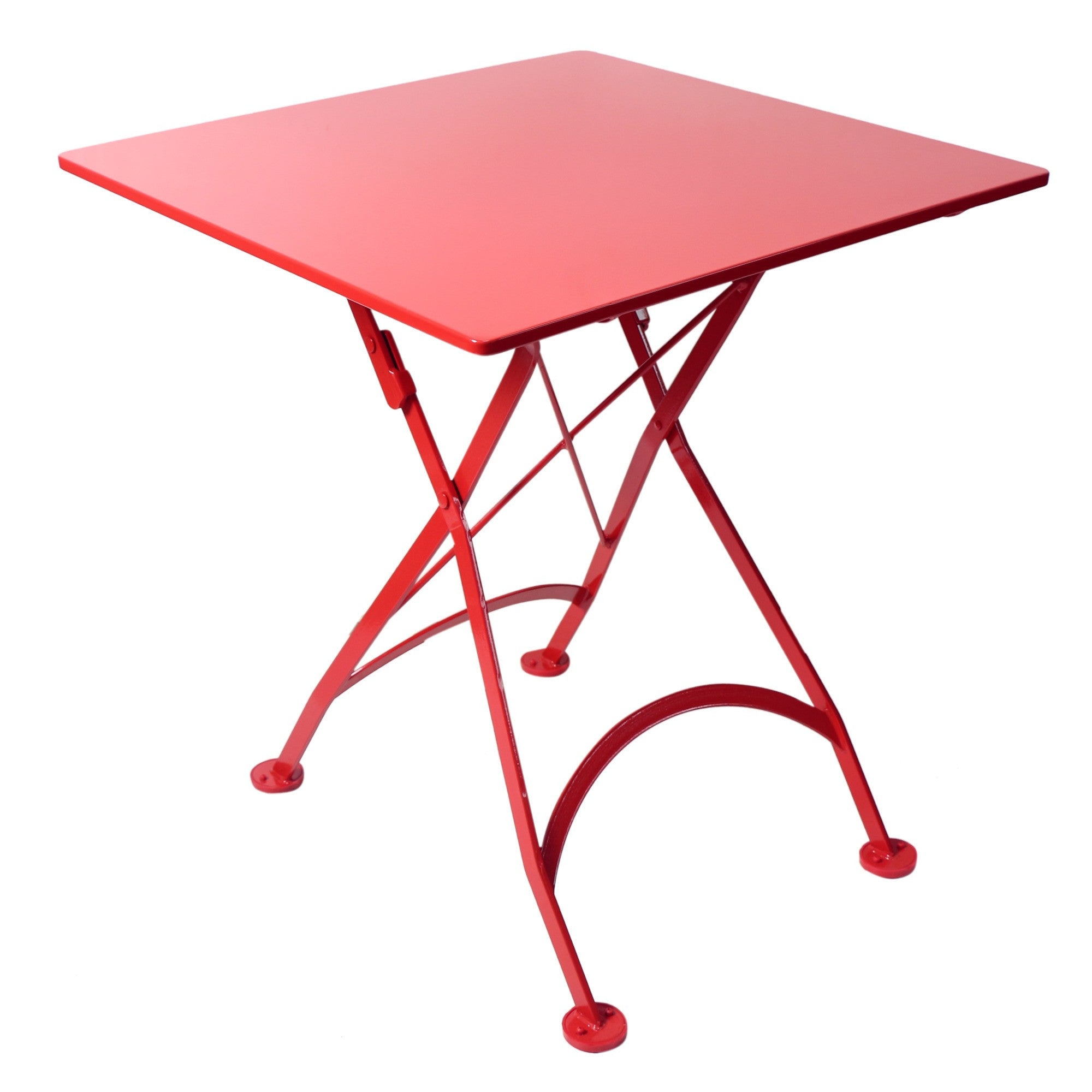 Square folding tables - 28 Inch Square European Folding Steel Metal Bistro Table
