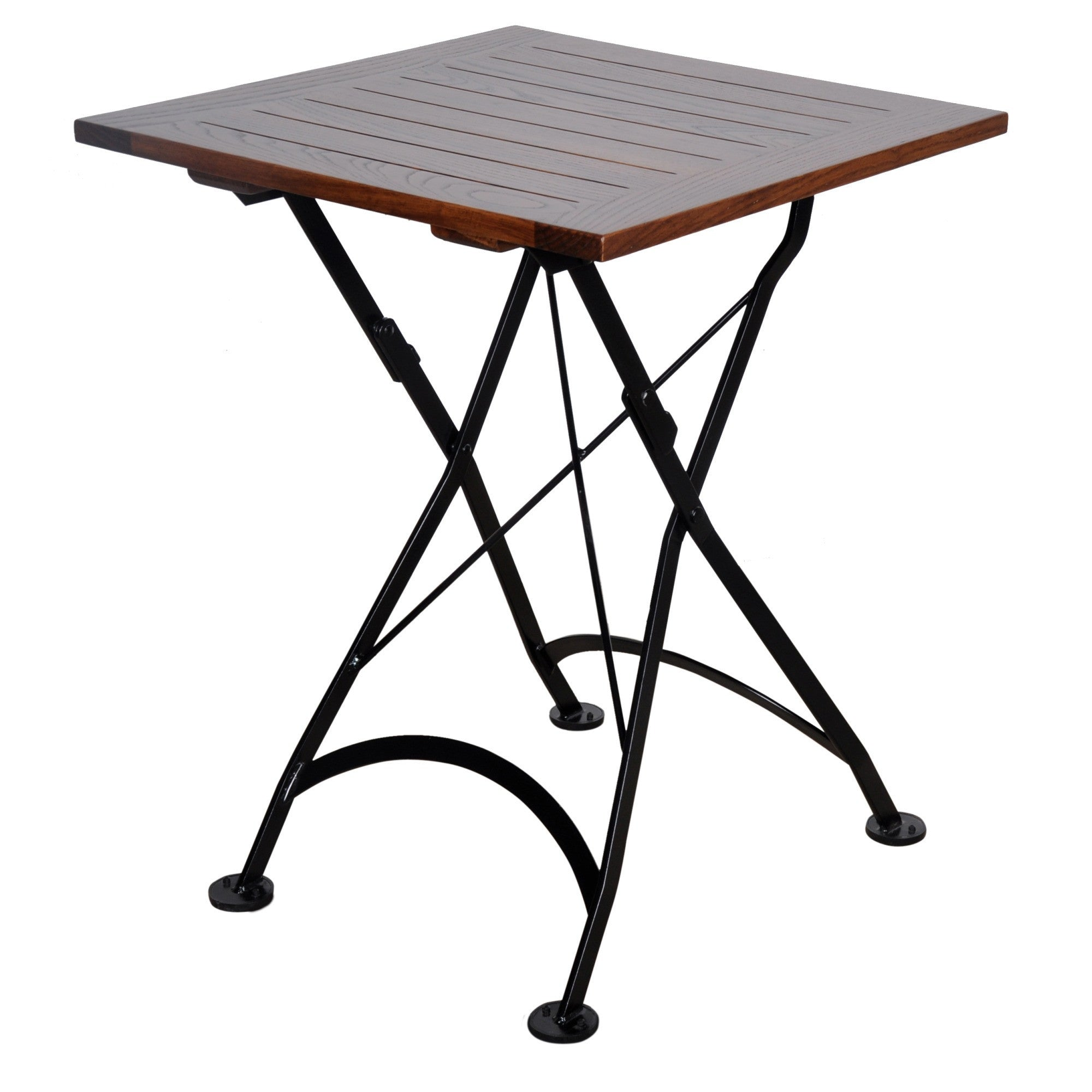 Square folding tables - 24 Inch Square European Folding Chestnut Wood Table