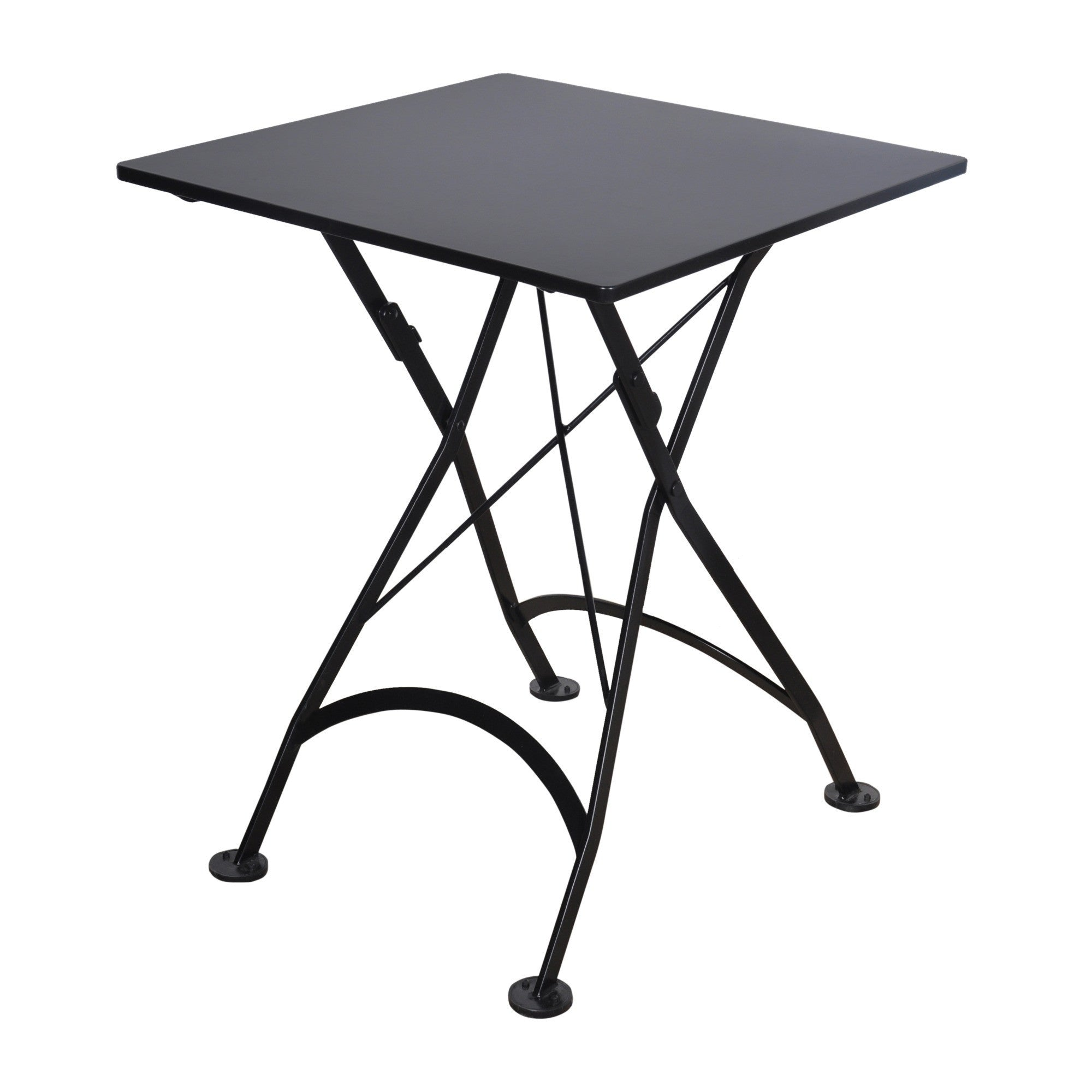 Square folding tables - 24 Inch Square European Folding Steel Metal Bistro Table