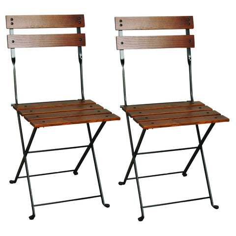 European Folding Chestnut Wood Side Bistro Chair, Set of 2