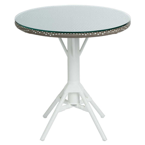 "31.5"" Nicole Cafe Table with Woven Round Tabletop, Cappuccino with White Dots"