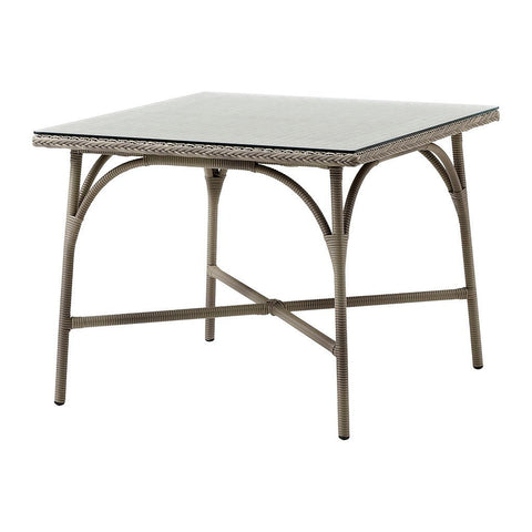 Victoria Square Dining Table, Antique Brown with Glass Top