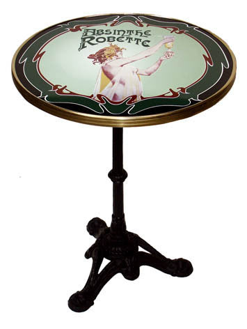 Absinthe Robette French Enamel Tabletop Bistro Table And 3 Prong Base
