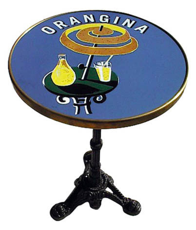 Orangina French Enamel Tabletop Bistro Table And 3 Prong Base