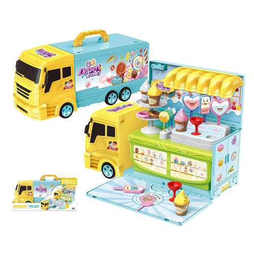 2 In 1 Kitchen Ice Cream Car Tool Set Car  Kitchen Cooking Car Toys Play Set Detachable House Toy for Kid Playset