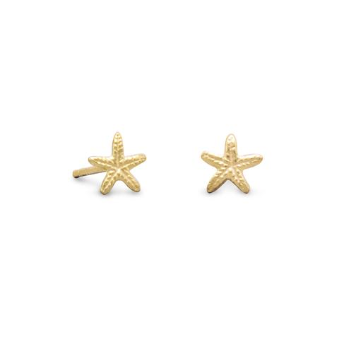 Gold Plated Starfish Stud Earrings