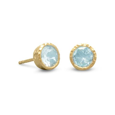 14 Karat Gold Plated Silver Blue Topaz Stud Earrings