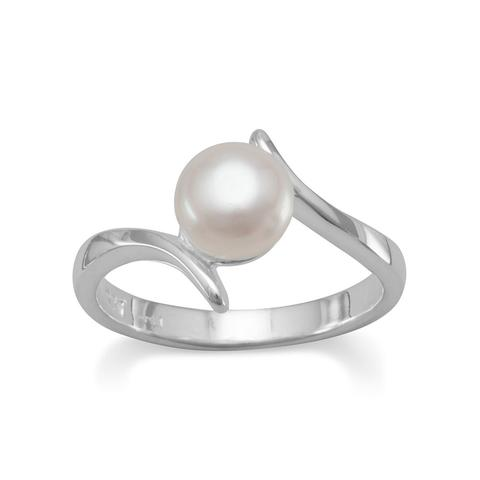 Crossover Design Cultured Freshwater Pearl Ring